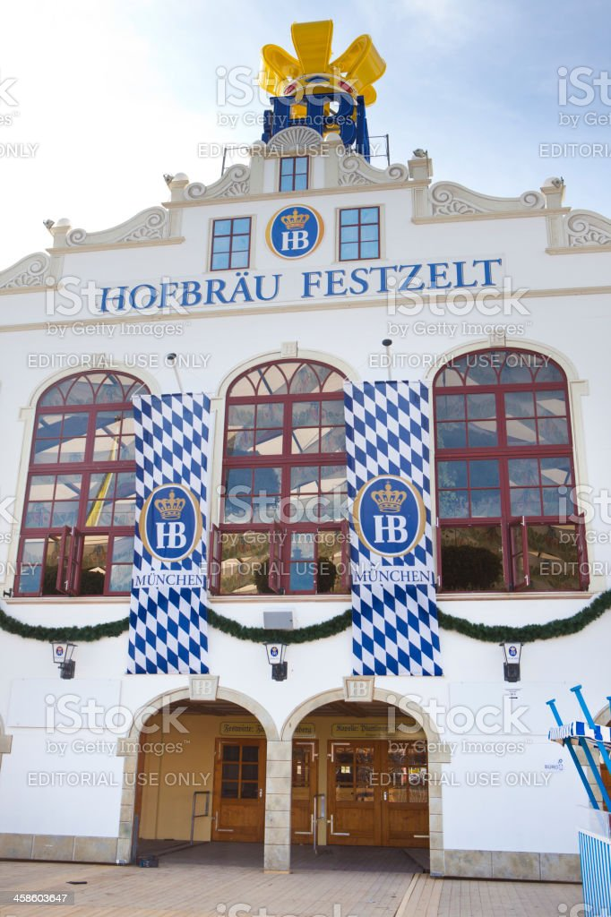 Entrance to Hofbraeu Brewery Beer Hall at Munich Oktoberfest stock photo