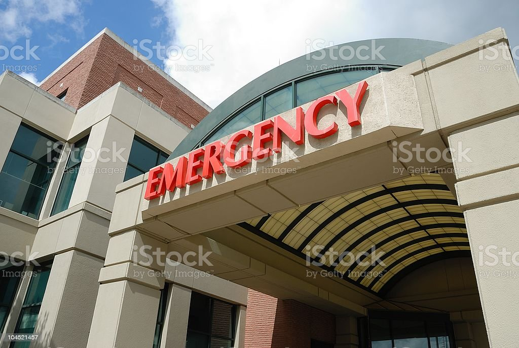 Entrance to hospital emergency room stock photo