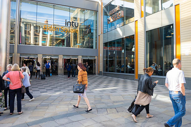 Entrance to Intu Eldon Square Shopping Centre stock photo