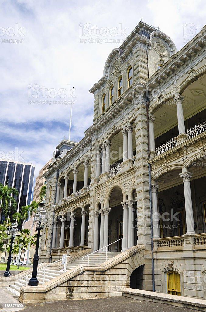 Entrance to Iolani Palace in Honolulu, HI stock photo