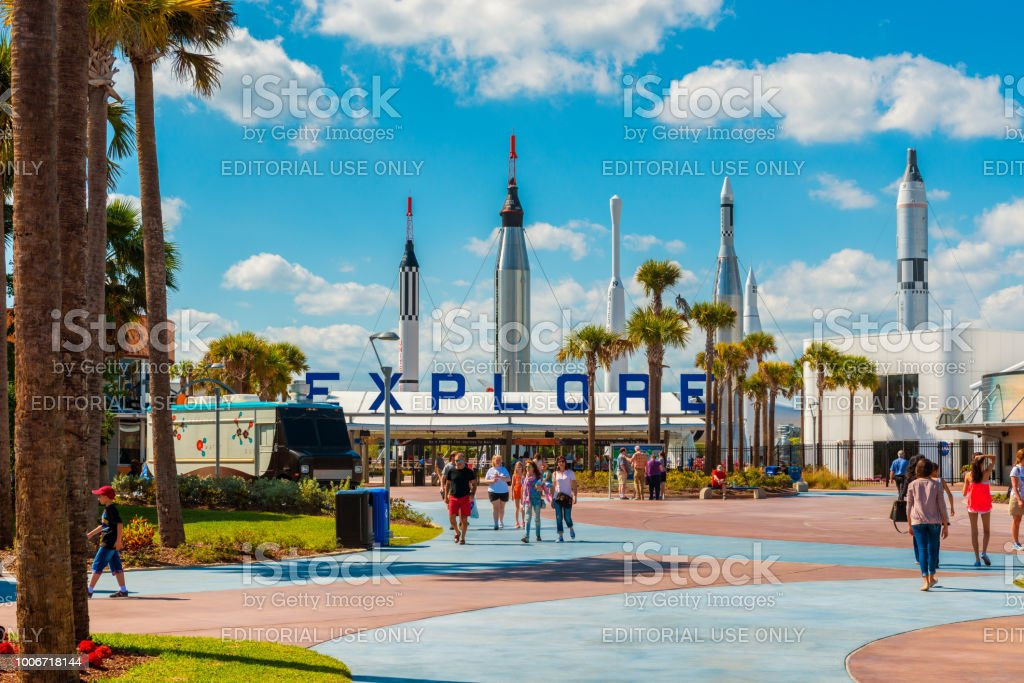 Entrance to Kennedy Space Center in Cape Canaveral Florida stock photo
