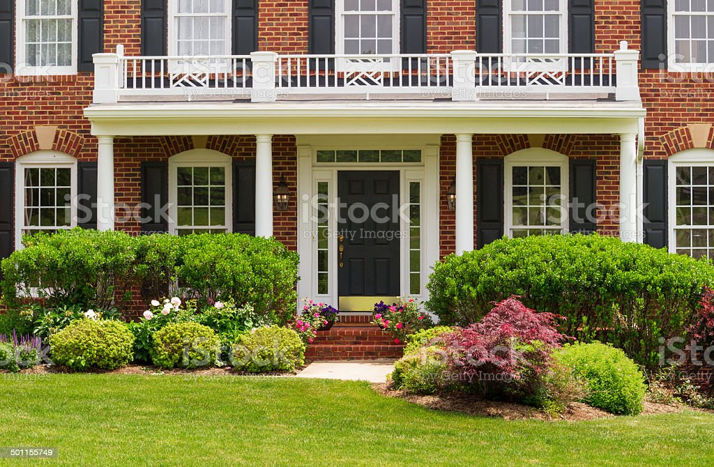 Entrance to large single family home stock photo