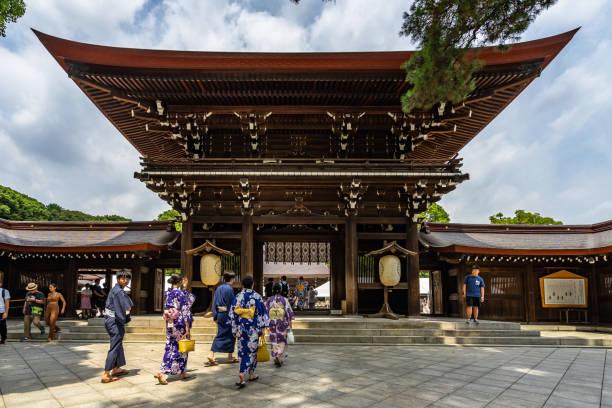 Entrance to Meiji Jingu, a famous Shinto shrine in Tokyo stock photo