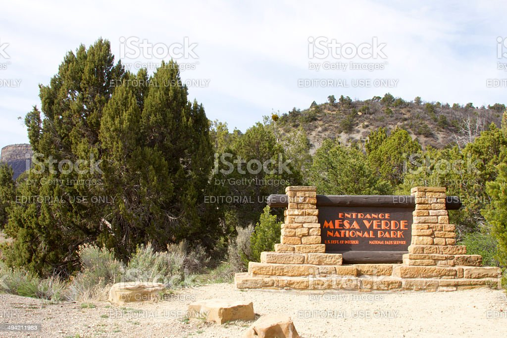 Entrance to Mesa Verde National Park stock photo