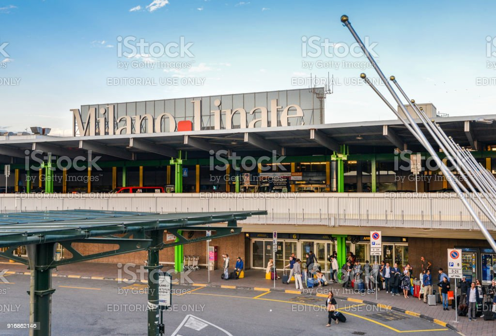 Entrance to Milan Linate, which services short and medium-range destinations in Europe and is Alitalia's hub stock photo