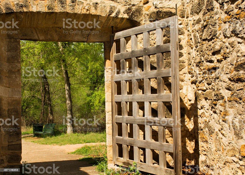 Entrance to Mission San Juan Capistrano in San Antonio, Texas royalty-free stock photo