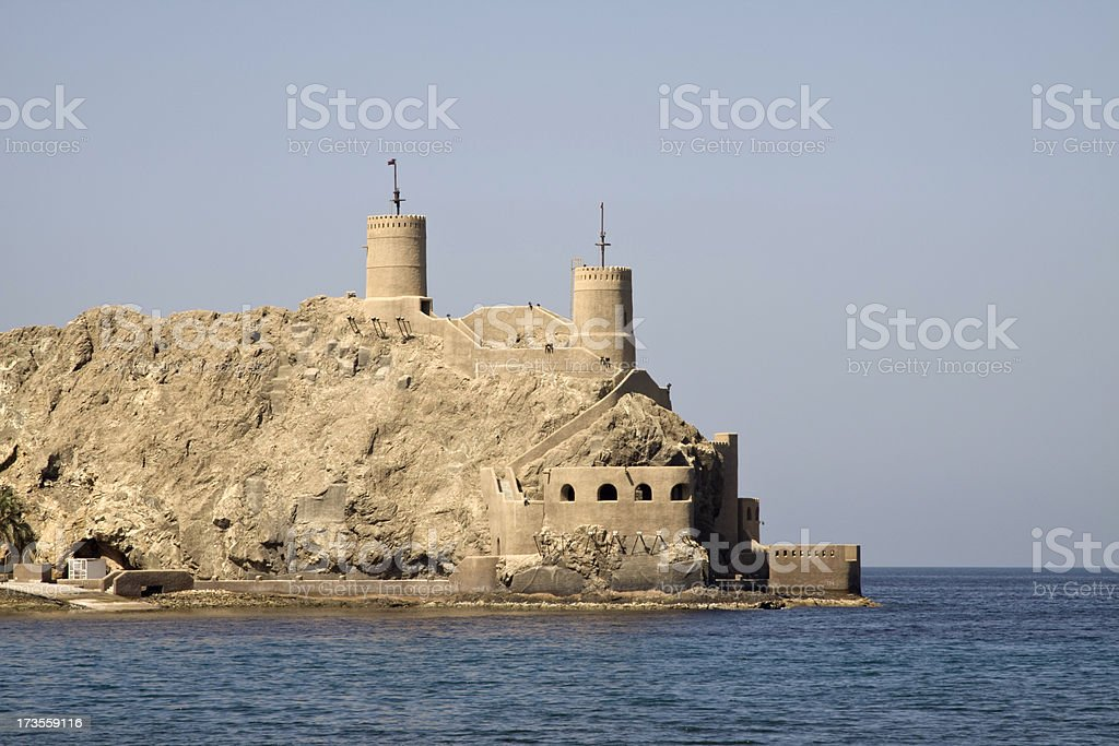 Entrance to Muscat Harbor royalty-free stock photo