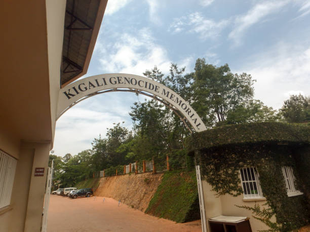 Entrance to National Genocide Memorial, Kigali, Rwanda. Kigali: Sign in front of National Memorial to the victims of Genocide in Kigali, Rwanda, Africa. genocide stock pictures, royalty-free photos & images