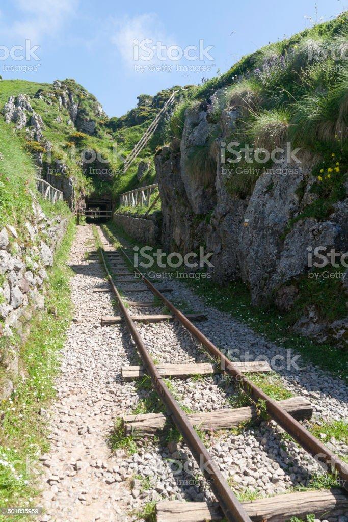 Entrance to old mines Buferrera stock photo