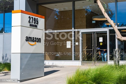 496586115 istock photo Entrance to one of Amazon office buildings located in Silicon Valley 1174933036