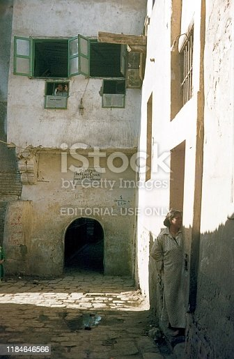 St. Sargiuos, Cairo, Egypt, 1969. Entrance to one of the oldest churches in Egypt, St. Sargiuos. Furthermore: locals.