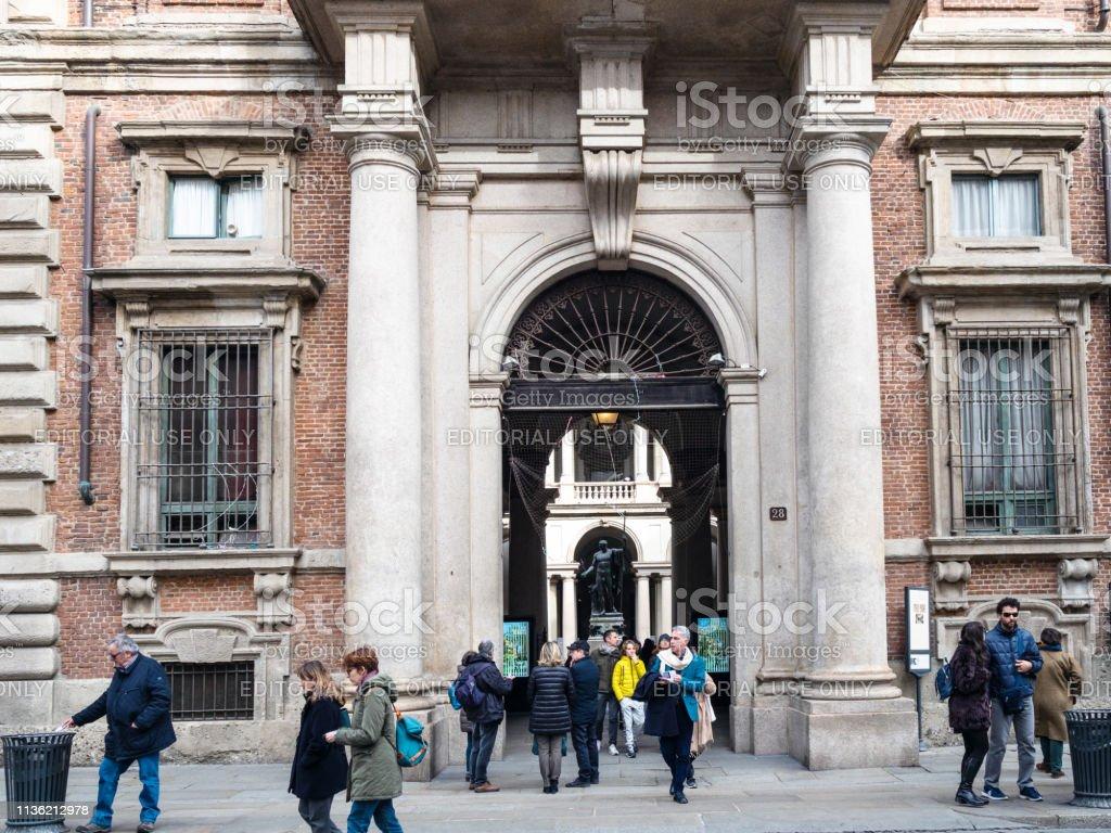 entrance to Palazzo Brera in Milan city - foto stock