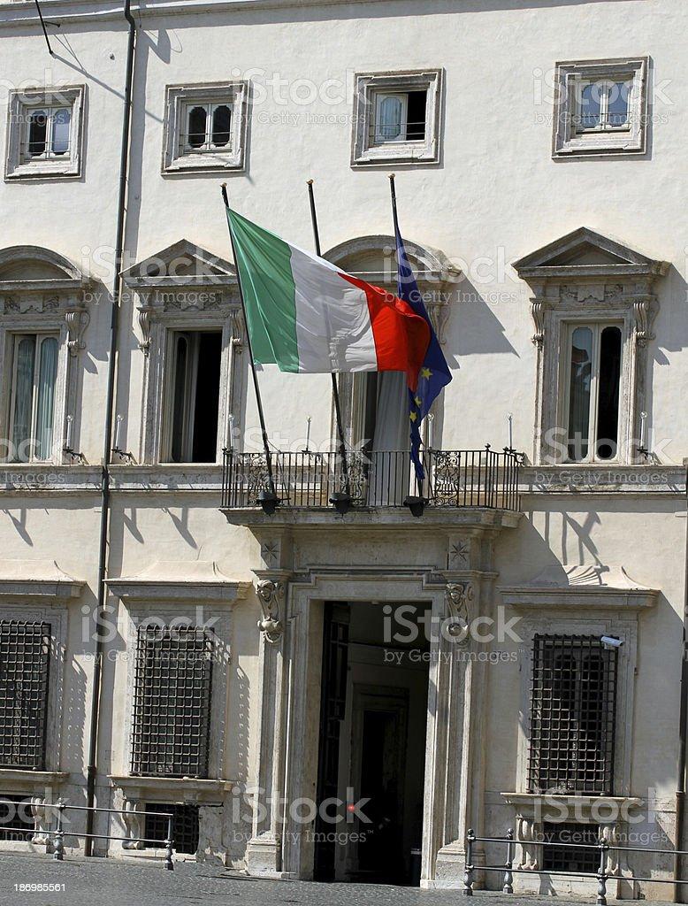 entrance to palazzo Chigi, seat of the Italian Government royalty-free stock photo