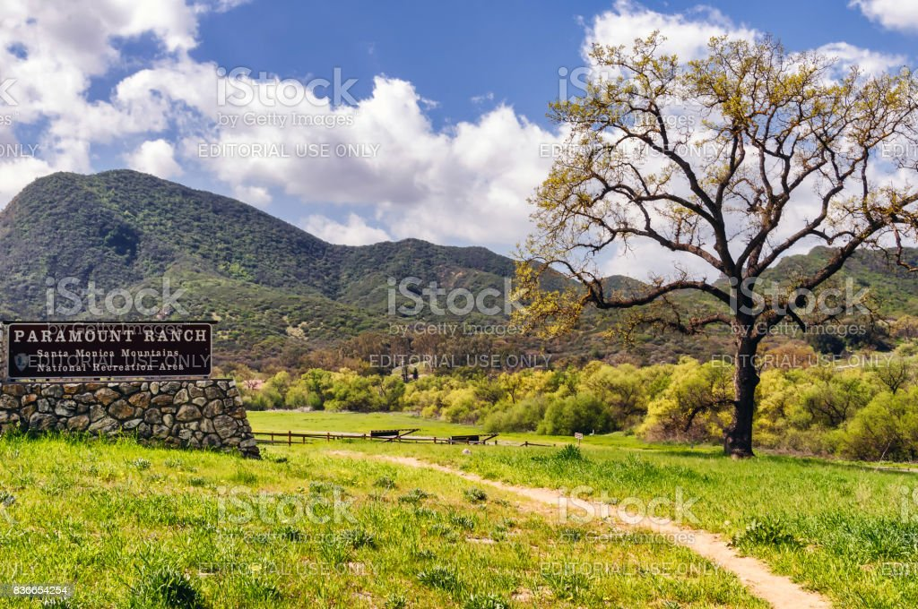 Entrance to Paramount Ranch, a public park in Southern California stock photo