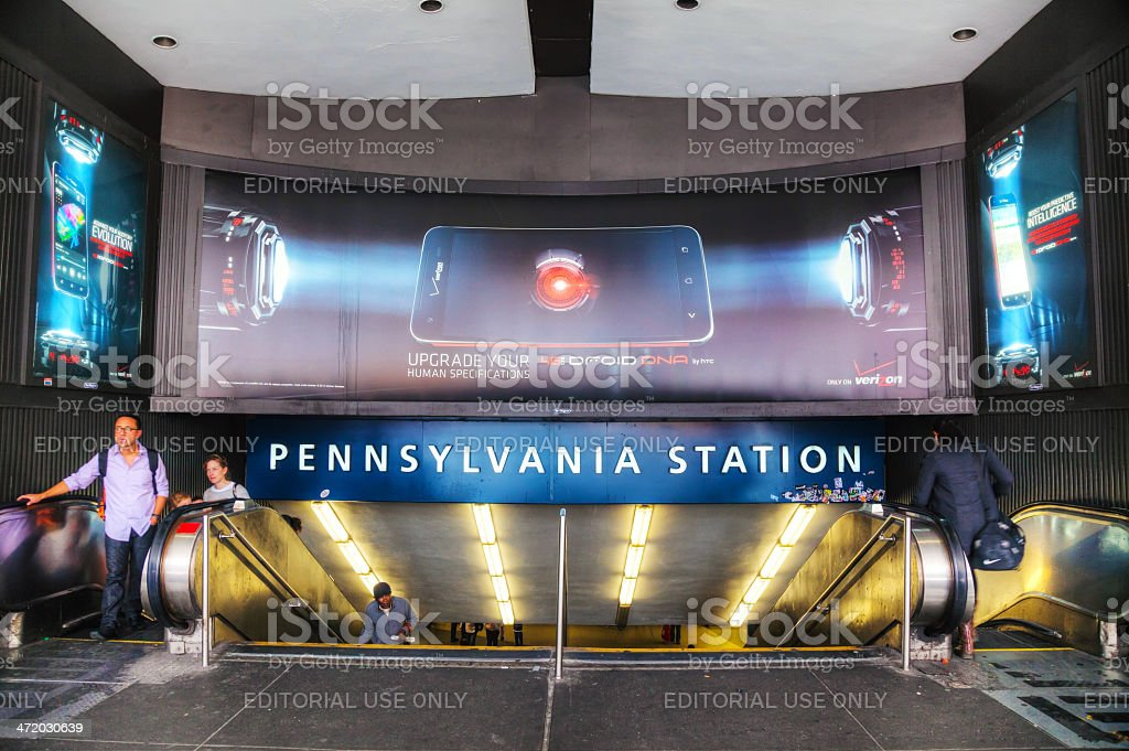 Entrance to Penn station in New York City stock photo