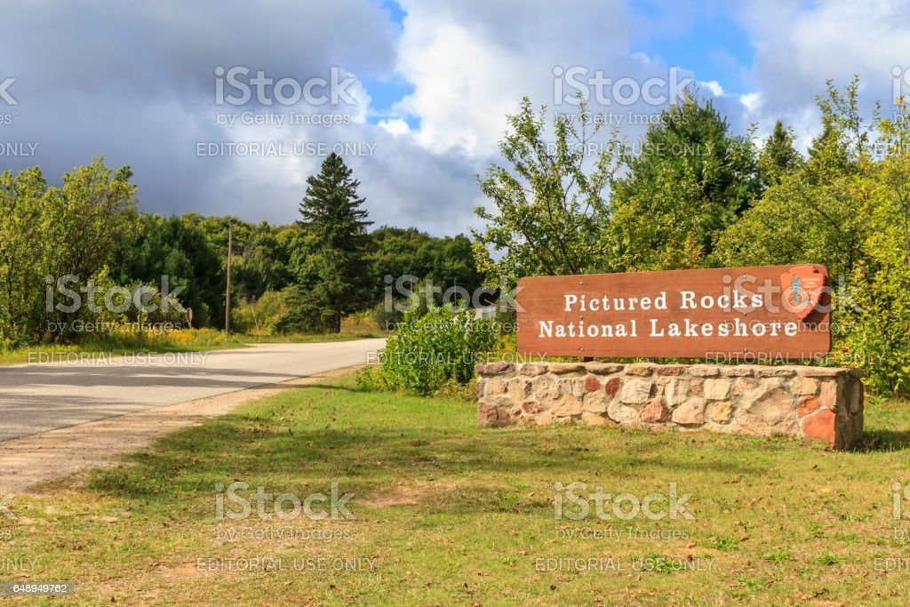 Entrance to Pictured Rocks National Lakeshore stock photo