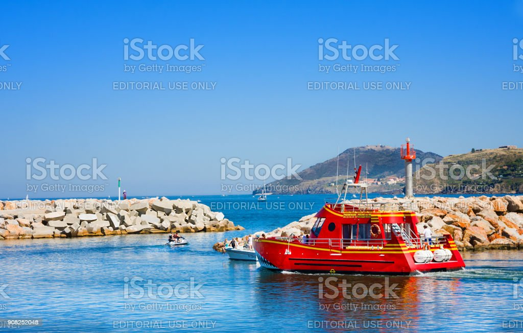 Entrance to port Argeles-sur-Mer in Pyrenees-Orientales department, Languedoc-Roussillon region, in southern France stock photo