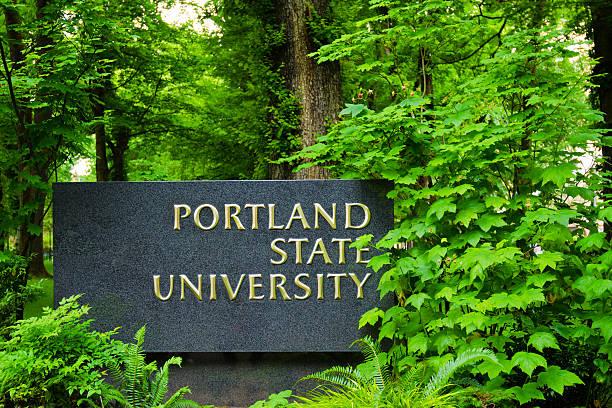 Entrance to Portland State University stock photo