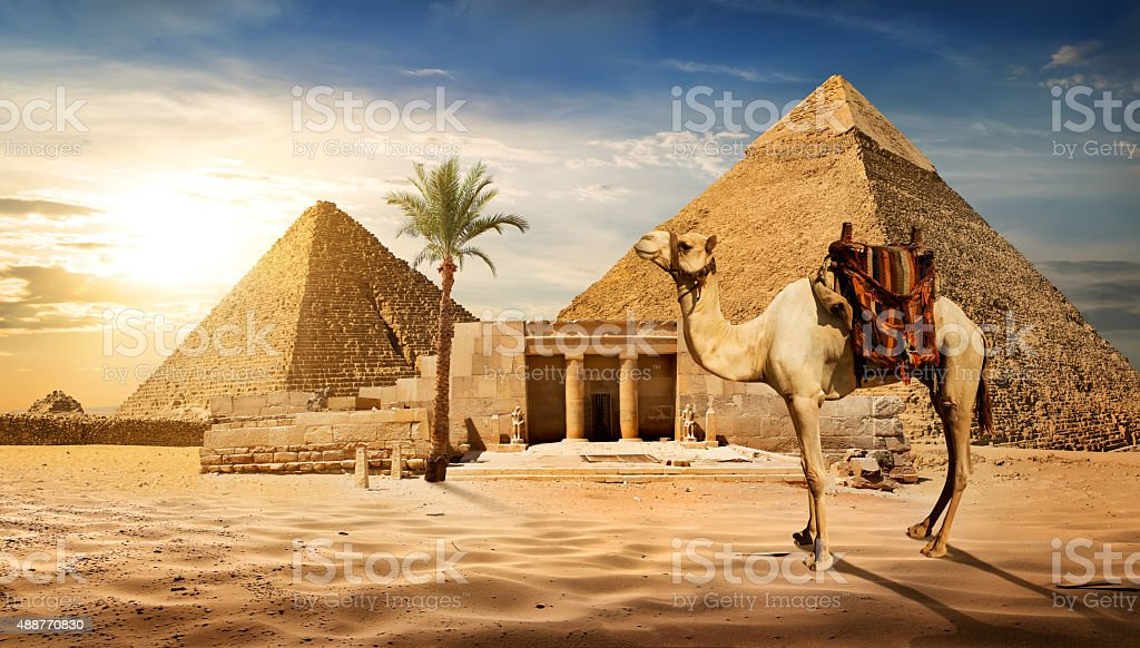 Entrance to pyramid stock photo