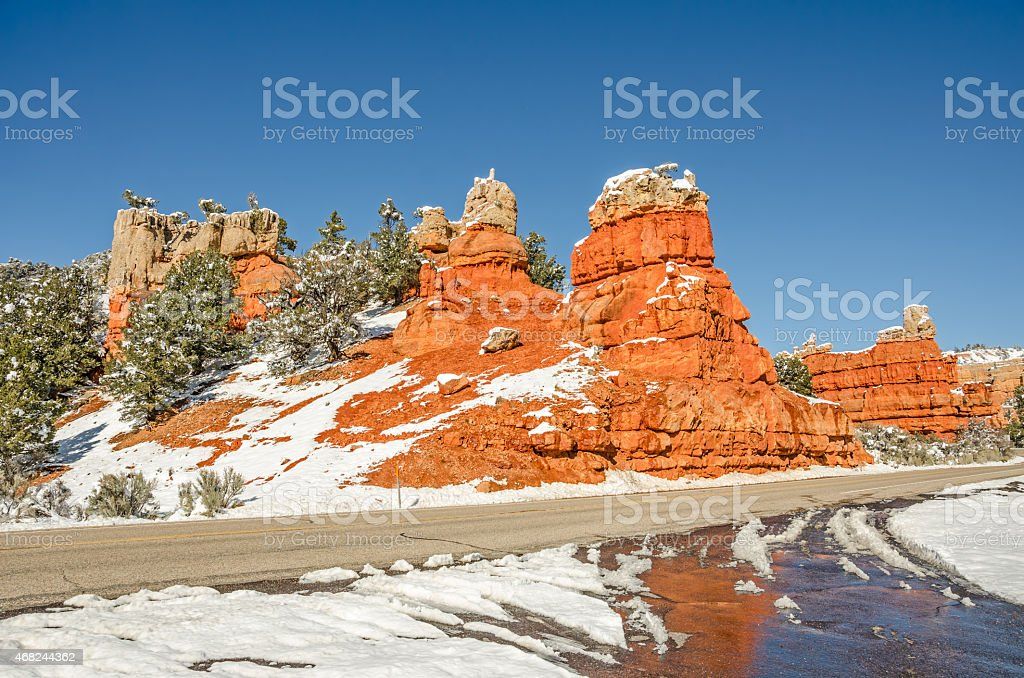Entrance to Red Canyon stock photo