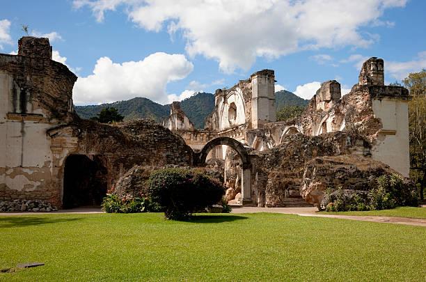 Entrance to Ruins of La Recoleccion, Antigua, Guatemala stock photo