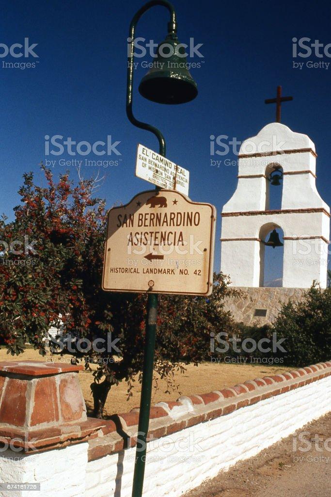 Entrance to San Bernardino Assistencia Mission in Redlands California stock photo