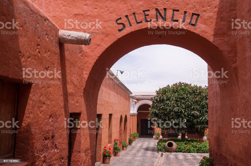 Entrance to Santa Catalina monastery in Arequipa, Peru stock photo