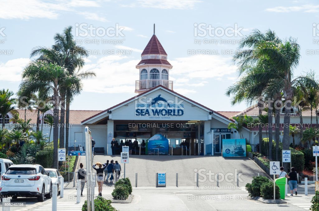 Entrance to Sea World amusement park on the Gold Coast stock photo