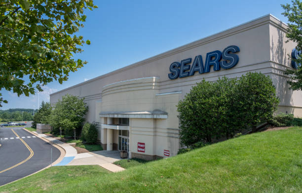 Entrance to Sears store at Dulles Town Center in Loudon County, Virginia stock photo