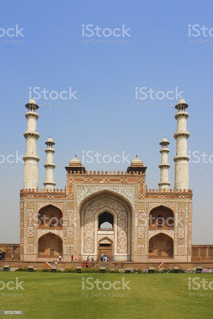 Entrance to Sikandra, Tomb of Akbar (Mughal emperor) stock photo