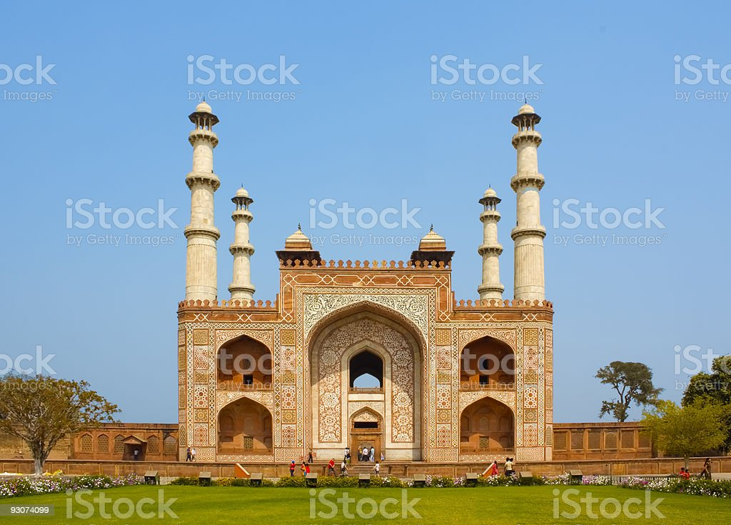 Entrance to Sikandra, Tomb of Akbar stock photo