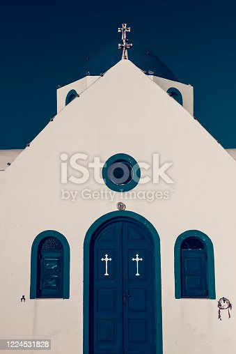 Entrance To Small Idyllic Church In Santorini, Greece