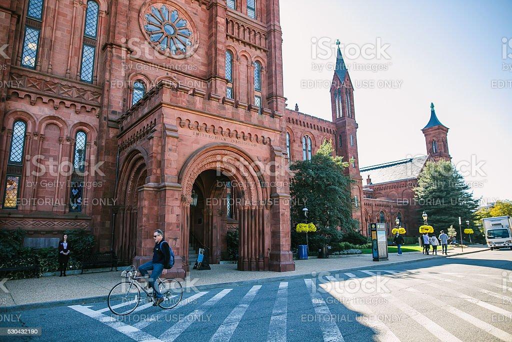 Entrance to Smithsonian Castle in Washington DC. stock photo