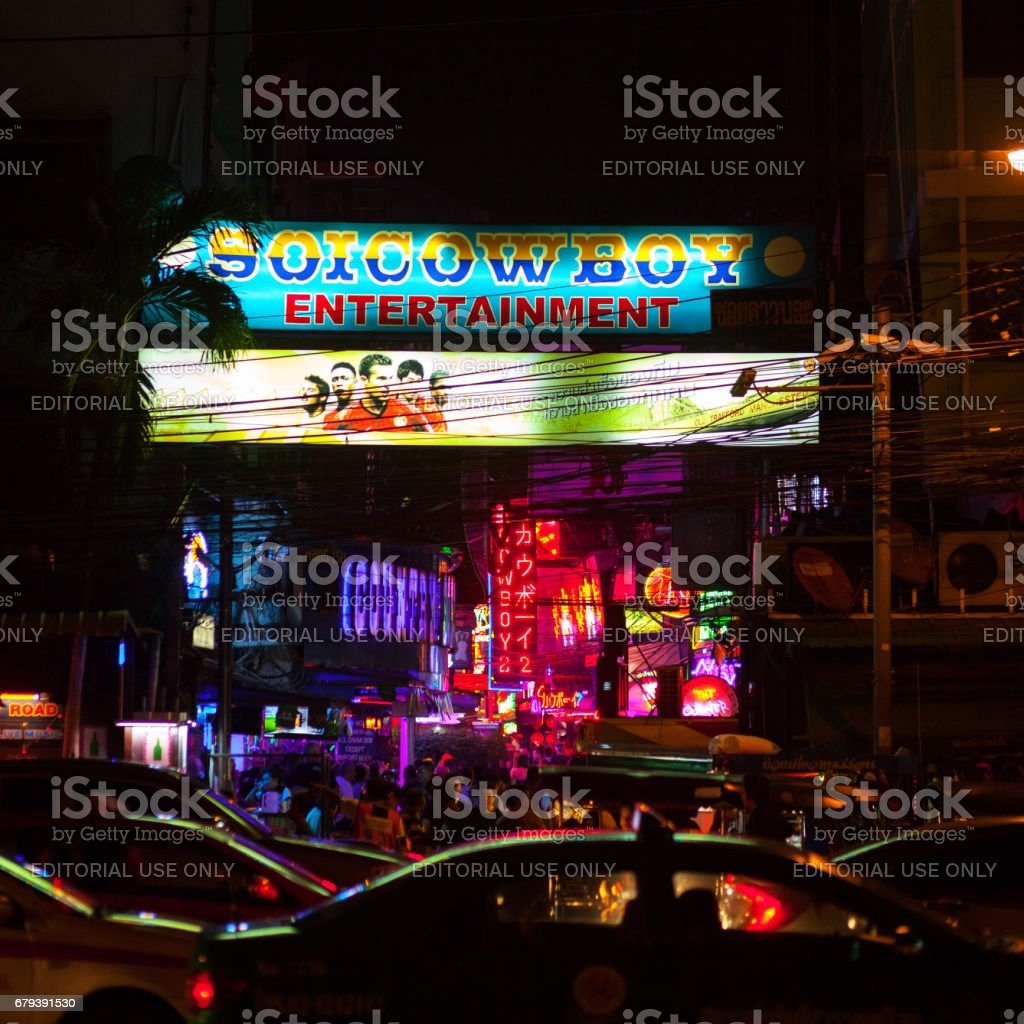 Entrance to Soi Cowboy at night stock photo
