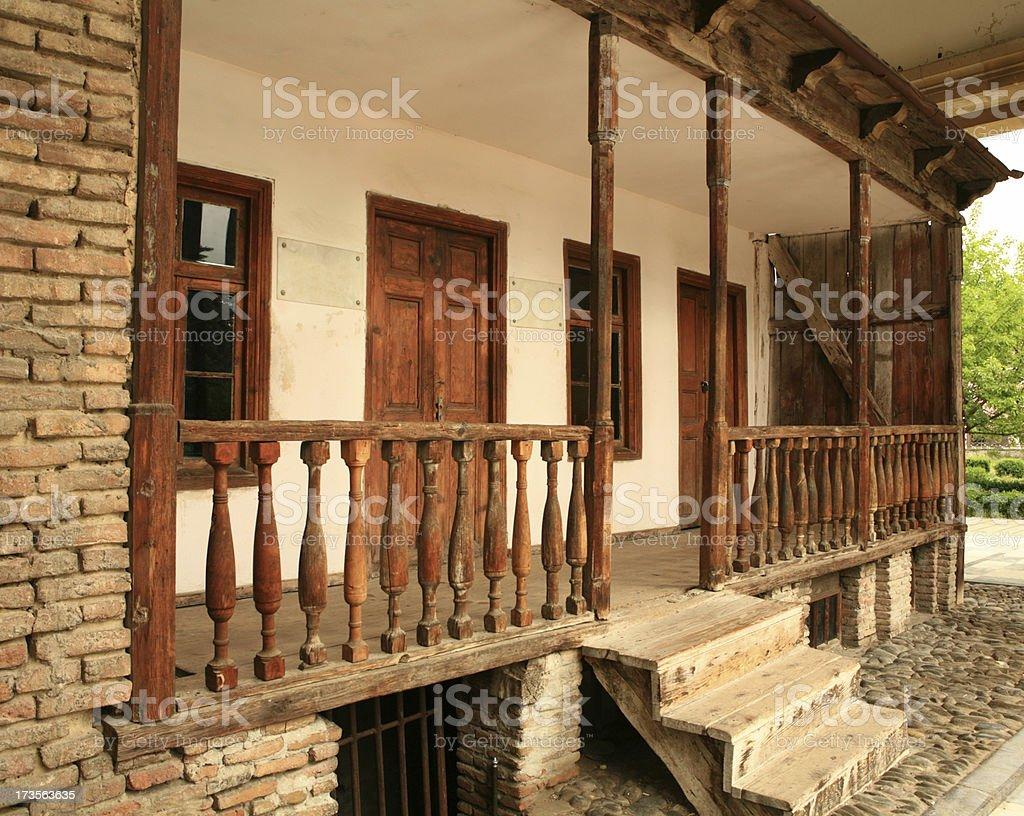 Entrance to Stalins birthplace in Gori Georgia stock photo