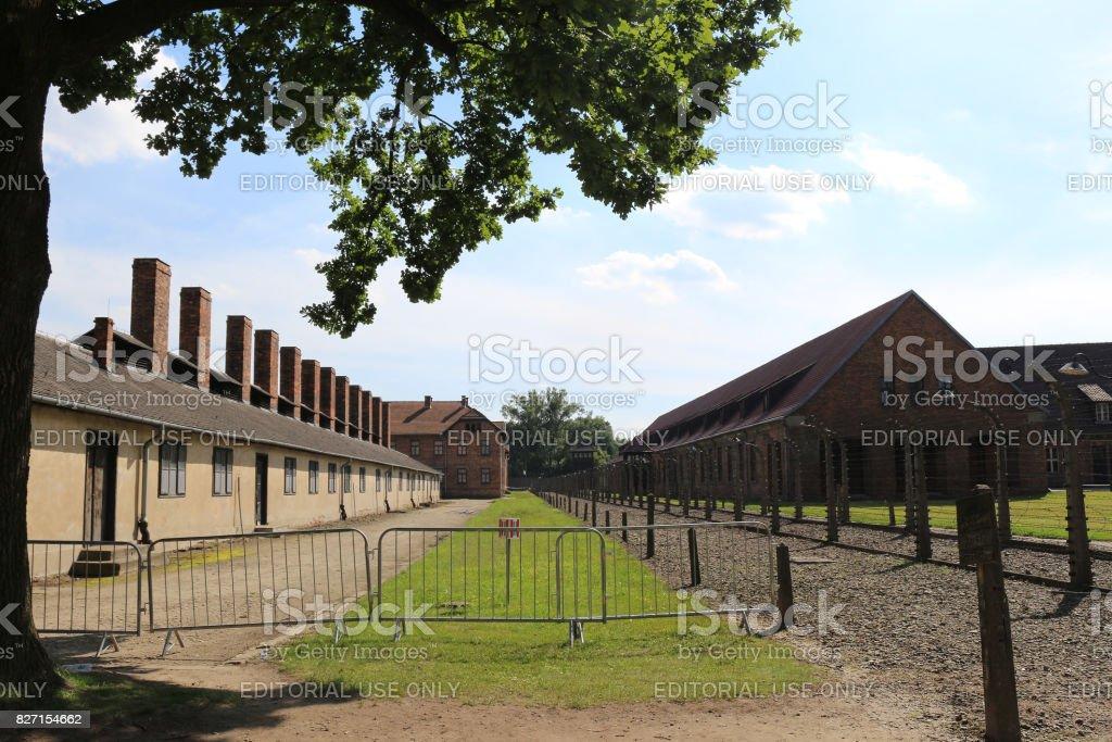 Entrance to the Auschwitz I, nazi extermination camp. stock photo