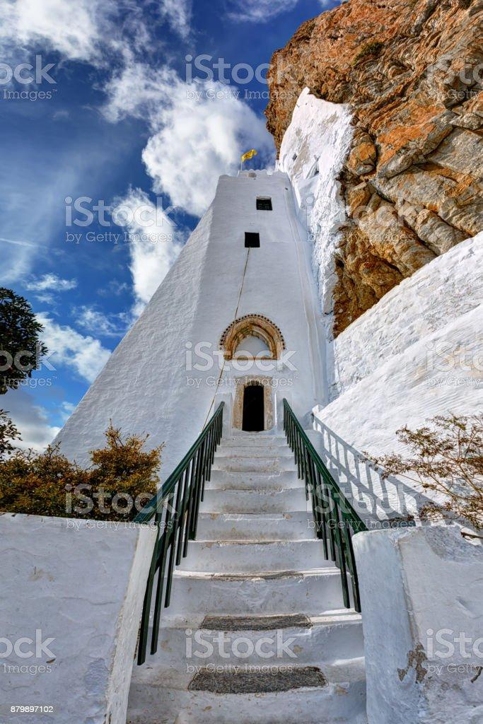 Entrance to the beautiful monastery of Hozoviotissa in Amorgos island, Greece stock photo