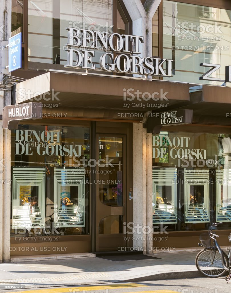 entrance to the Benoit de Gorski store in the city of Geneva. Benoit...