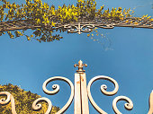 Entrance to the botanic garden in Tbilisi. Beautiful iron gate against the blue sky. Summer day in the city