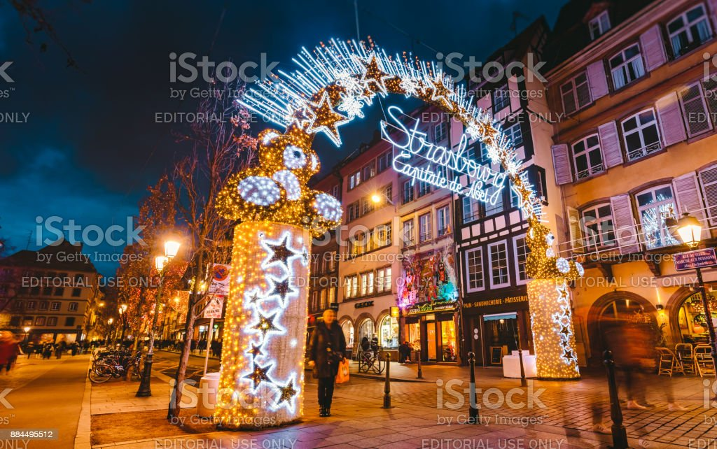 Strasbourg France Christmas Time.Entrance To The Capitale De Noel On Christmas Time In