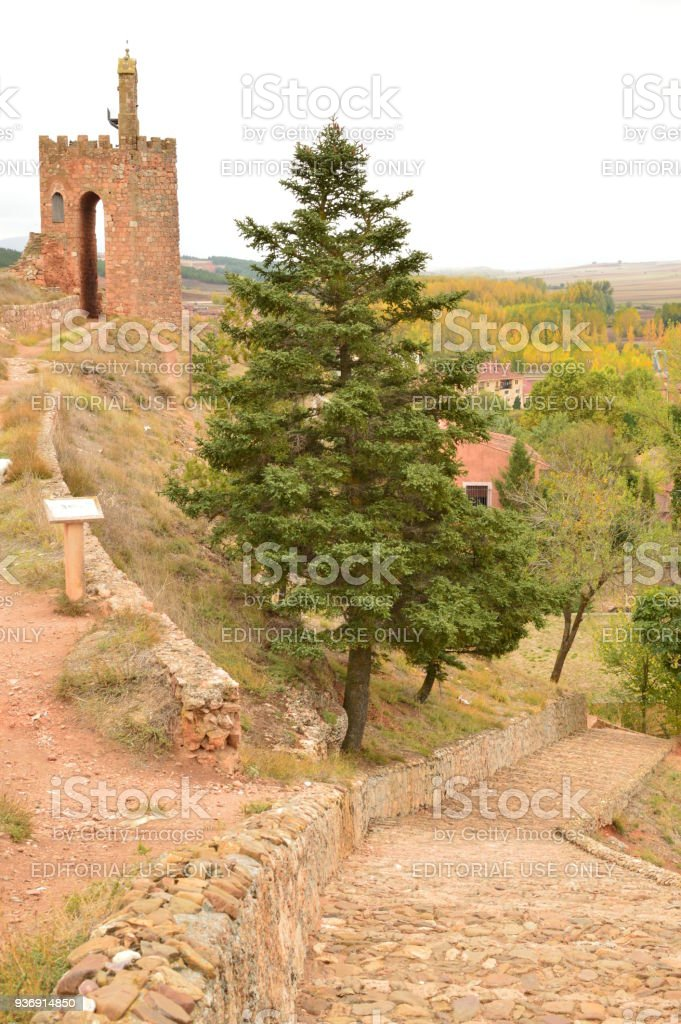 Entrance To The Castle Of The Town Of Ayllon Cradle Of The Red Villages Besides Of Beautiful Medieval Town In Segovia. Architecture Landscapes Travel Rural Environment. stock photo