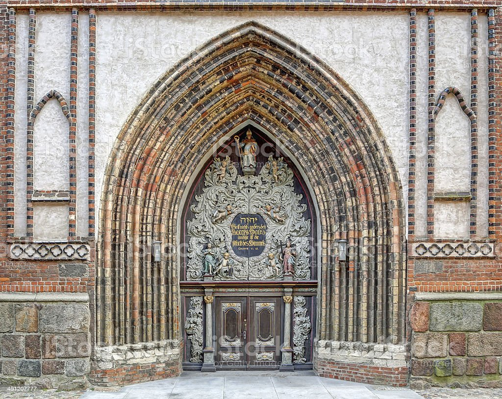 Entrance to the Cathedral in Stralsund (Germany) stock photo