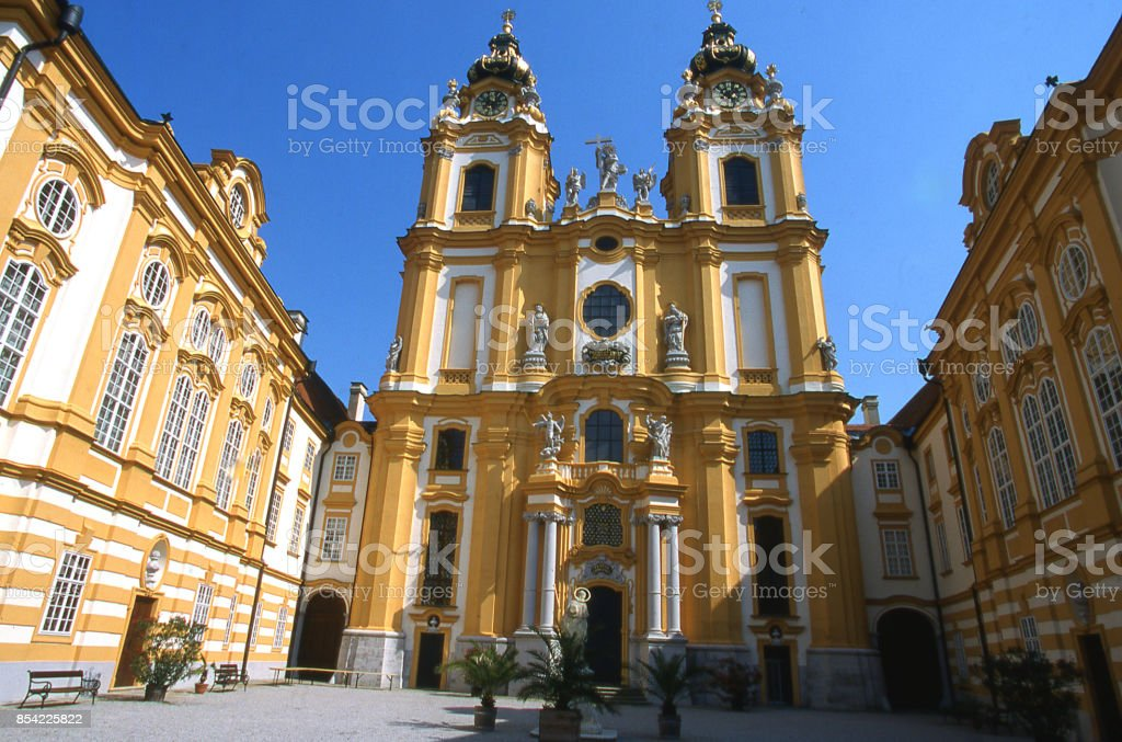Entrance to the chapel and courtyard of the Golden Abbey and church called Stiftskirche near Melk Austria stock photo
