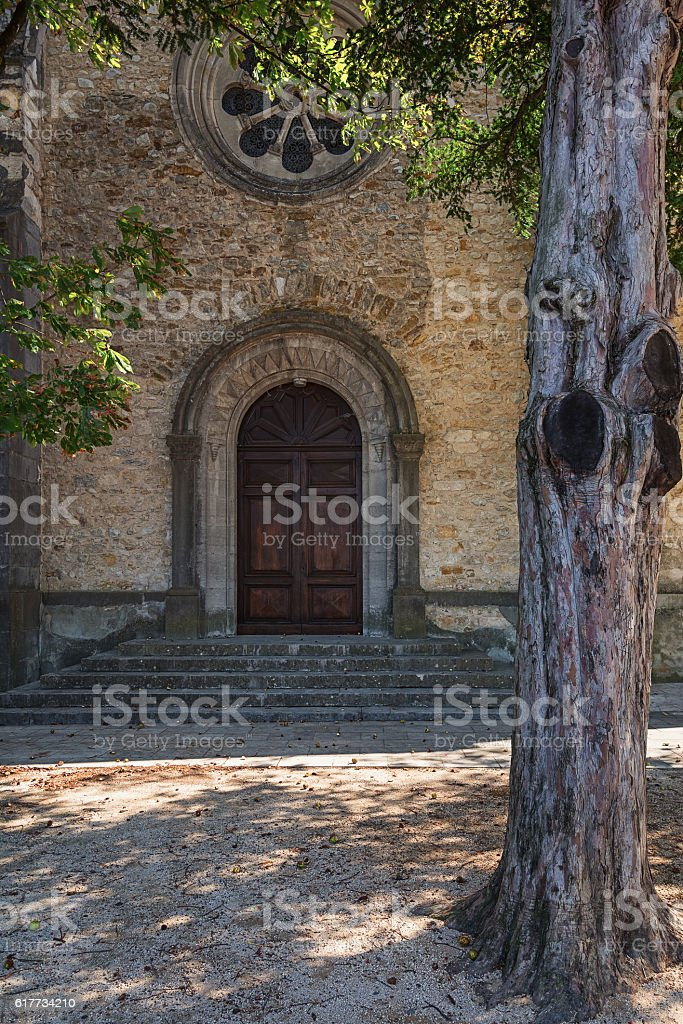 Entrance to the church stock photo