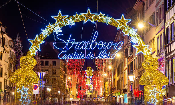Entrance to the city centre of Strasbourg on Christmas time Entrance to the city centre of Strasbourg on Christmas time strasbourg stock pictures, royalty-free photos & images
