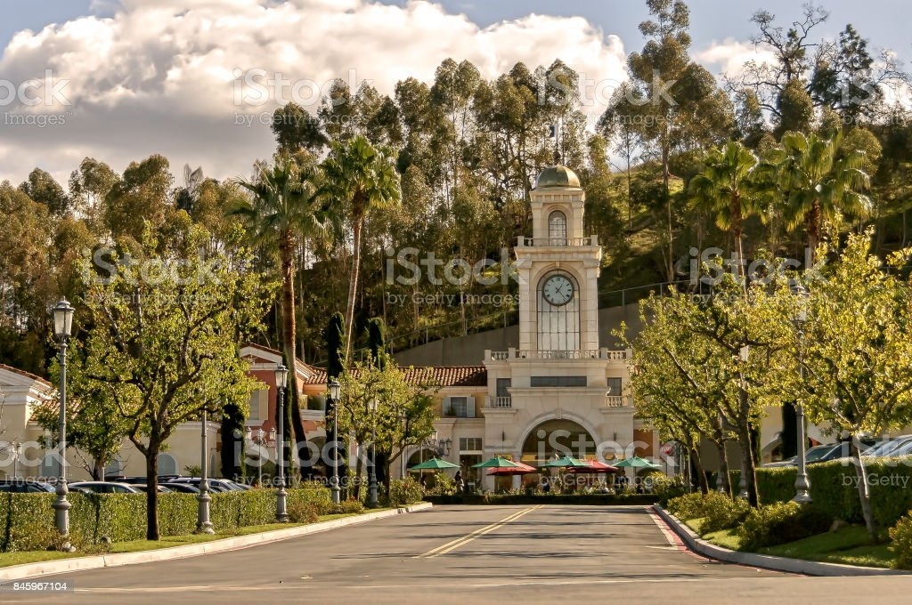 Entrance to The Commons shopping mall in Calabasas, California stock photo