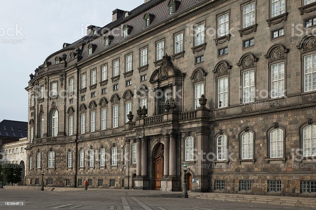 Entrance to the Danish parliament stock photo