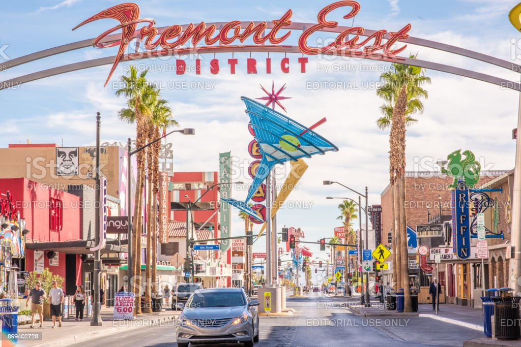 Entrance to the Fremont Street District in Las Vegas stock photo