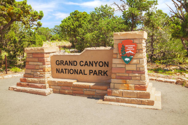 Entrance to the Grand Canyon National Park stock photo