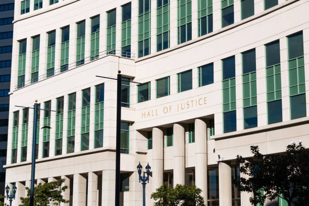 Entrance to the Hall of Justice Building in San Diego stock photo